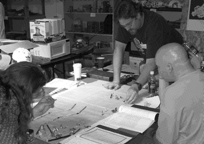 MerpCon1gamersAroundTable Newsprint BW