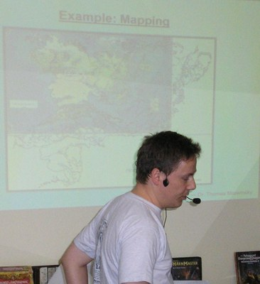 Dr Thomas Morwinsky Speaking MerpCon 2007 Profile Map In Background